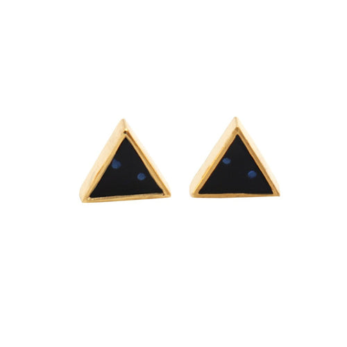 The Sparkle Story Black Onyx Gold Plated Triangle Shape Stud & Earring (DBO-90024)