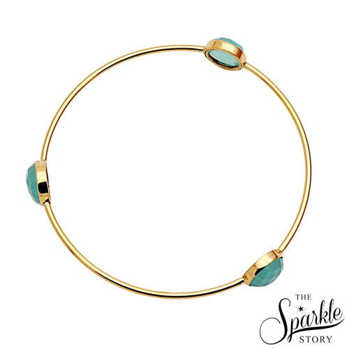 The Sparkle Story Beautiful Aqua Chalcedony Round 10mm Gold Plated Bangle (2-6 DADBA-19006)