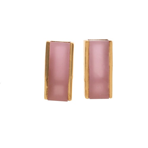 The Sparkle Story Rose Chalcedony Gold Plated Rectangle Shape Stud & Earring (DRC-90026)