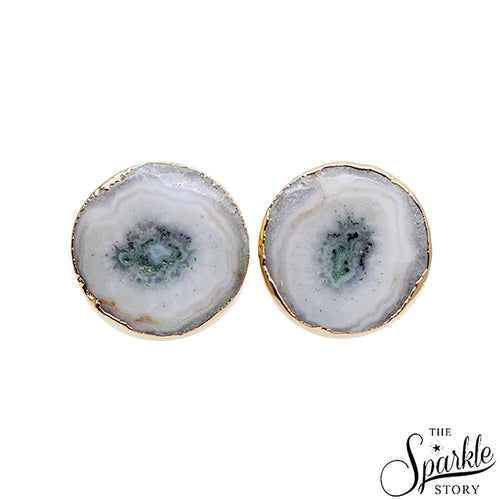The Sparkle Story Agate Slice Druzy Stud Gold Plated Round Shape Stud & Earring (DDS-90014)