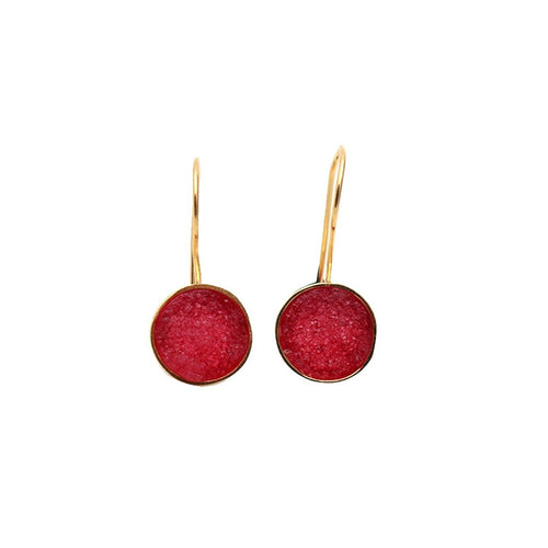 The Sparkle Story Red Druzy Round Shape Gold Plated Dangle Hook Earring (DZRER-90150)