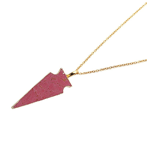 The Sparkle Story Pink Jasper Arrow Head Pendant 36x13mm Gold Plated 18' Inch Chain (DLP-50062)