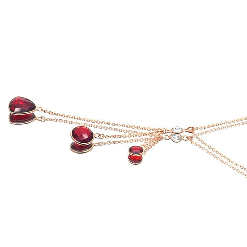 The Sparkle Story Hydro Garnet & Crystal Bezel Connector Gold Plated Necklace Chain (DNC-16007)