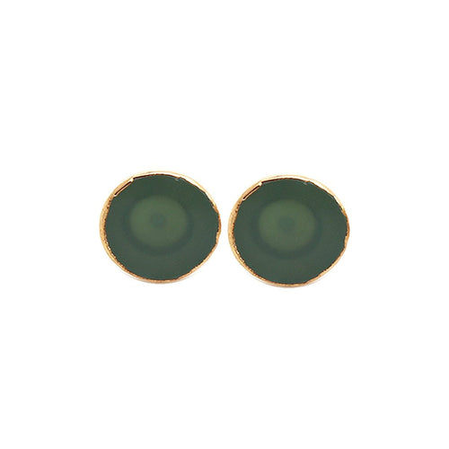 The Sparkle Story Green Chalcedony Gold Plated Round Shape Stud & Earring (DGC-90012)