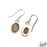 Smoky Topaz 14x8mm Sterling Silver Hook Earring