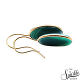 Green Druzy Cab Gold Plated Oval Shape Dangle Earring for Women and Girls