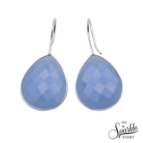Light Blue Chalcedony Silver Plated Pears Shape Dangle Earrings For Women and Girls