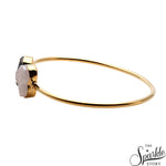 White & Platinum Druzy Gold Plated Heart & Round Shape Adjustable Bangle Bracelet for Women and Girls