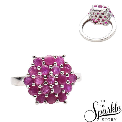 The Sparkle Story Pink Ruby Sterling Silver Statement Ring Size-15 (DSS-12015)
