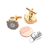 Druzy Organic Shape Gold Plated Shirts Cufflink For Unisex