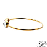 Rose Chalcedony & Crystal Gold Plated Adjustable Bangle Bracelet