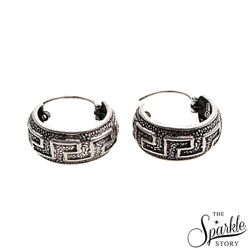 The Sparkle Story Wire Wrapped Design Oxidised Sterling Silver Hoop Earring (DSS-90012)
