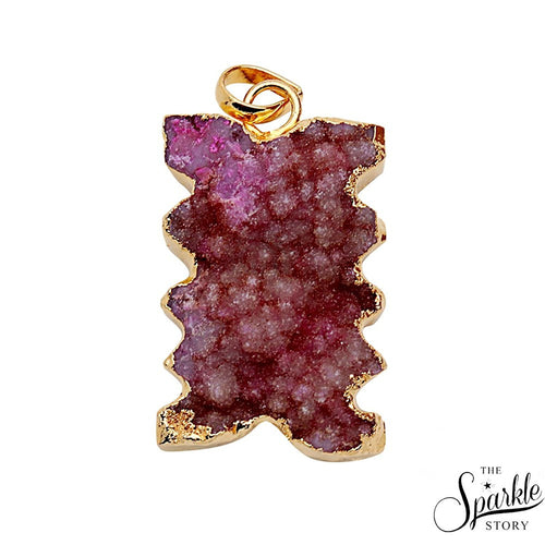 The Sparkle Story Red Color Druzy Gold Plated Pendant (DDC-50003)
