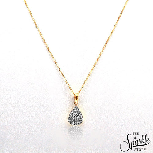 The Sparkle Story Beautiful Pear Shape CZ Charm Fancy Cap Necklace Pendant With Chain