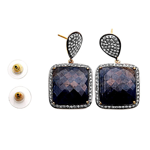 The Sparkle Story Sapphire With CZ Pave Diamonds Gold Vermeil Dangle Stud Earring (DSHCZ-90005)