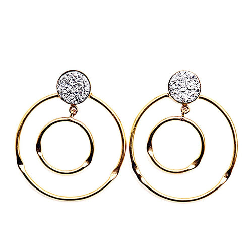 Silver Druzy Gold Plated Dangle Loop Earrings (DSZER-90209)