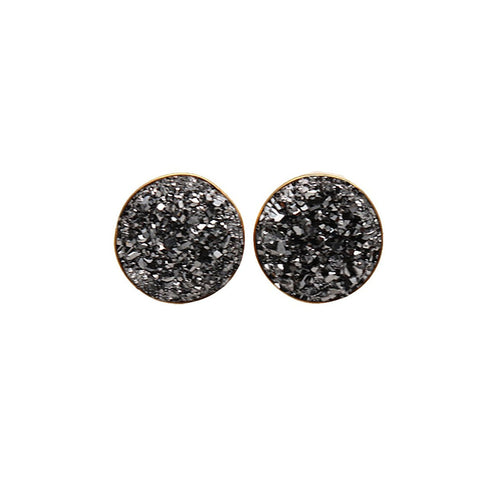 The Sparkle Story Platinum Druzy Gold Plated Round Shape Stud & Earring (DMZ-90006)