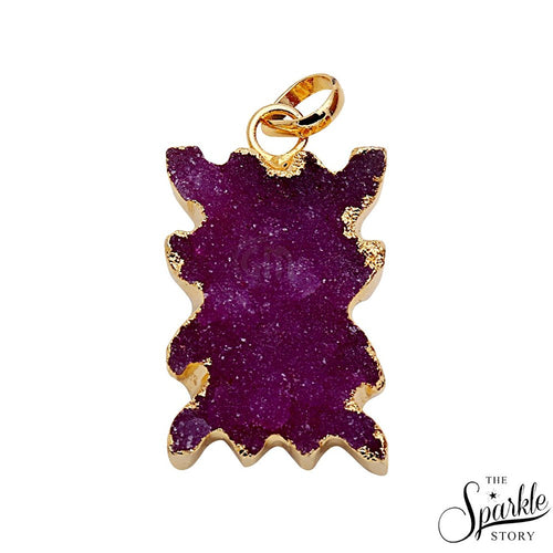 The Sparkle Story Red Color Gold Plated Druzy Pendant (DDC-50004)