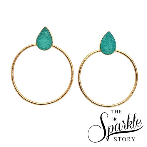 The Sparkle Story Green Color Druzy Earring Gold Plated Pears Shape Hoop Earring (DZCER-90157)