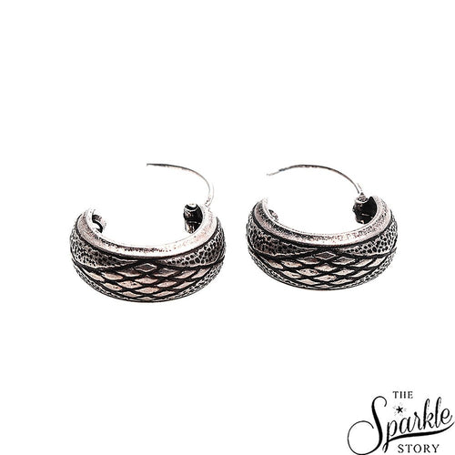 The Sparkle Story Criss Cross Design Oxidised Sterling Silver Hoop Earring (DSS-90006)