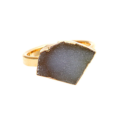 The Sparkle Story White Druzy Ring Gold Adjustable Ring (DDCRG-12008)