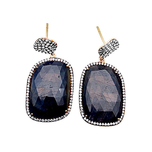The Sparkle Story Sapphire With CZ Pave Diamonds Gold Vermeil Dangle Stud Earring (DSHCZ-90002)