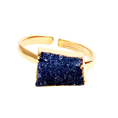 The Sparkle Story Blue Druzy Gold Plated Adjustable Ring (DDCRG-12001)