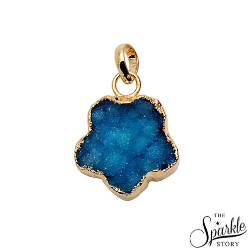 The Sparkle Story Blue Color Gold Plated Druzy Pendant  (DDC-50009)