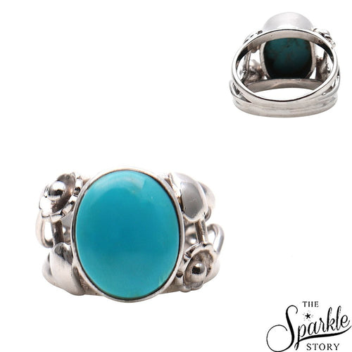 The Sparkle Story Turquoise Stone Oval Shape Sterling Silver Ring (DSS-12023)