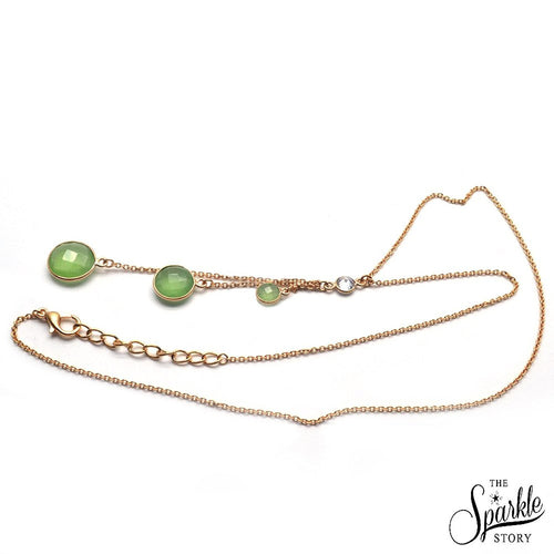 The Sparkle Story Green Chalcedony Bezel Gold Plated Necklace Chain (DNC-16024)