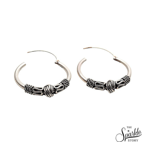 The Sparkle Story Hinged Vintage Look Oxidised Sterling Silver Hoop Earring (DSS-90004)