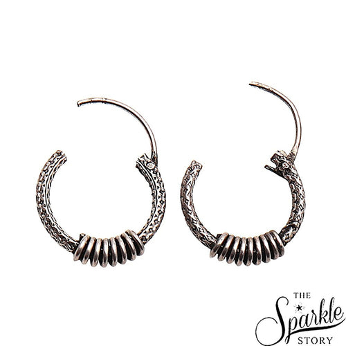 The Sparkle Story Antique Vintage Silver Look Design Oxidised Silver Hoop Earring (DSS-90005)