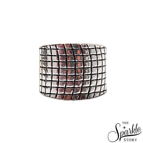 The Sparkle Story Black Oxidized Sterling Silver Adjustable Ring (DSS-12005)