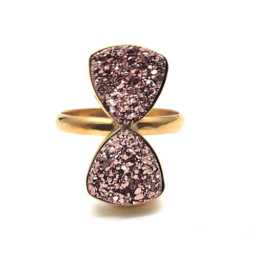 The Sparkle Story Rose Gold Druzy 10mm Double Gemstone Statement Ring (12DRZ-12001)