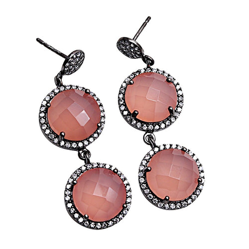 The Sparkle Story Rose Chalcedony With CZ Pave Diamonds Black Plated Dangle Earring (DCZER-90001)