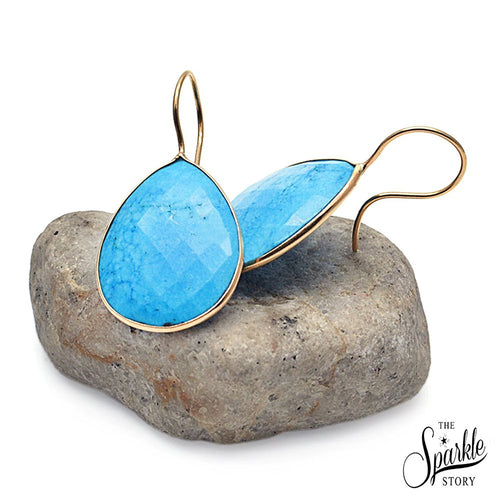 The Sparkle Story Turquoise Gold Plated Hook Earring (DTQER-90010)