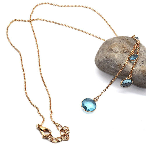 The Sparkle Story Hydro Blue Topaz Bezel Gold Plated Connector Chain Necklace (DNC-16048)