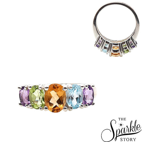 The Sparkle Story Fashion Jewellery Multicolor Stone Sterling Silver Ring (DSS-12034)