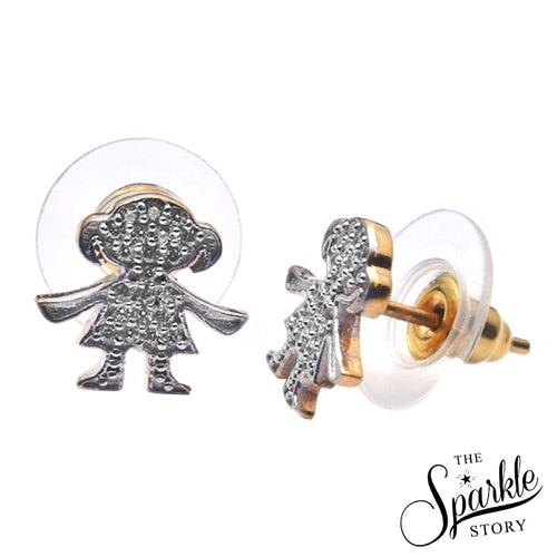 The Sparkle Story CZ Charm Girl Shape Stud Earring (DCHER-90003)