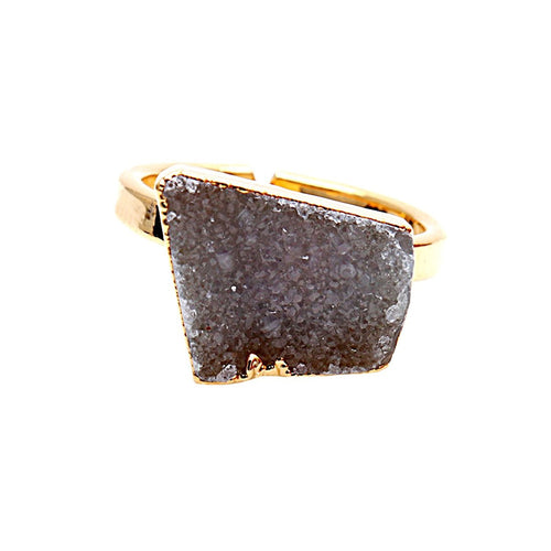 The Sparkle Story Brown Druzy Gold Plated Adjustable Ring (DDCRG-12007)