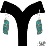 Turquoise Jasper 11x32mm Sterling Silver Hook Earring