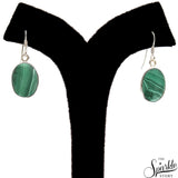 Malachite 21x13mm Sterling Silver Hook Earring