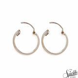 Plain Sterling Silver Women's Hoop Earrings 16mm