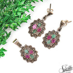 Emerald With Ruby Sterling Silver Pendant & Earring Jewelry Set