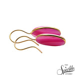 Pink Druzy Cab Gold Plated Oval Shape Dangle Earring for Women and Girls
