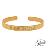 Be The Change Golden Plated Adjustable Bangle Bracelet