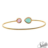 Aqua Chalcedony & Rose Chalcedony Gold Plated Adjustable Bangle Bracelet
