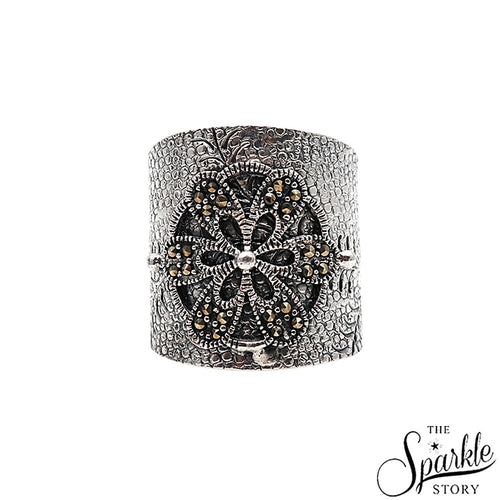 The Sparkle Story Black Oxidized Baroque Sterling Silver Adjustable Ring (DSS-12001)