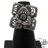 The Sparkle Story Black Oxidized Sterling Silver Statement Ring (DSS-12008)