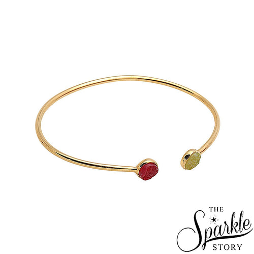 The Sparkle Story Hot Pink & Lemon Druzy Round Adjustable Gold Plated Bangle (DDSBA-19022)